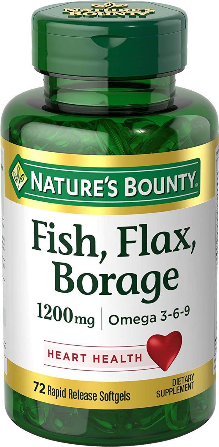 Fish Flax Borage Omega 3 6 9 Natural Herbal Supplements